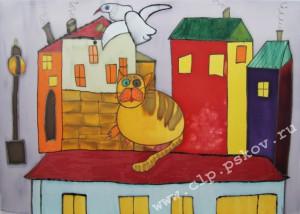 Кот и чайка. Колл. раб. Я и Ты. Сентябрь 2015